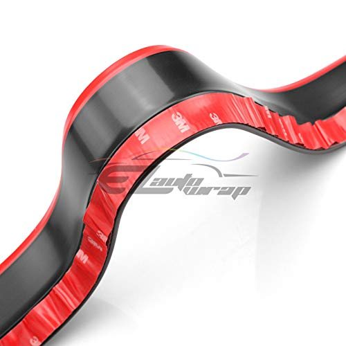 EZAUTOWRAP Universal 2 Tone Black /& Red PU Rubber Front Bumper Lip Splitter Spoiler Chin Body Air Wing Kit 8FT