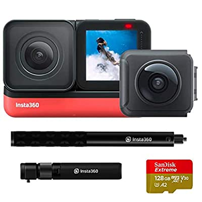 Insta360 ONE R Twin Edition All-in-One Bundle: Action Camera + Bullet Time Handle + Invisible Selfie Stick - Super 5.7K Dual Lens, 4K Wide Angle (SD Card Sold Separately), Authorized Dealer from Insta360