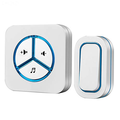 JYDQM Botón de batería del Timbre inalámbrico a Prueba de Agua 280M Luz LED remota Enchufe de la UE Timbre de Llamada inalámbrico para el hogar 48 Chime 6 Volumen