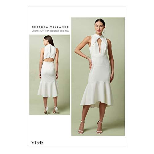 Vogue patroon patroon nauwsluitende jurk, meerkleurig, maten 14–22