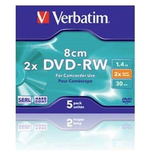 NUOVO VERBATIM 43514/5 MINI DVD-RW 30MIN.HARDCOAT CF.5 ) MINI DVD-RW 1.4GB 4X CONF. DA 5 CON TECNOLOGIA ANTIGRAFFIO HARD COAT