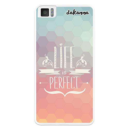 dakanna Kompatibel mit [Bq Aquaris M4.5 - A4.5] Flexible Silikon-Handy-Hülle [Transparent] Motivationsphrase Life is Perfect Design, TPU Hülle Cover Schutzhülle für Dein Smartphone