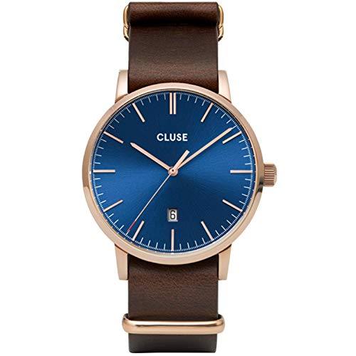 Cluse Herren-Uhren Analog Quarz One Size Braun/blau/rosé Kalbsleder 32010376