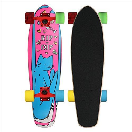 CNSTZX Tabla Completa de Monopatín Intermitente, Tabla de Skate LED Mini Cruiser, Placa de Calle Maple Wood Impresa, Tabla de Surf Longboard Kick Sports al Aire Libre, para Mujeres/Niños