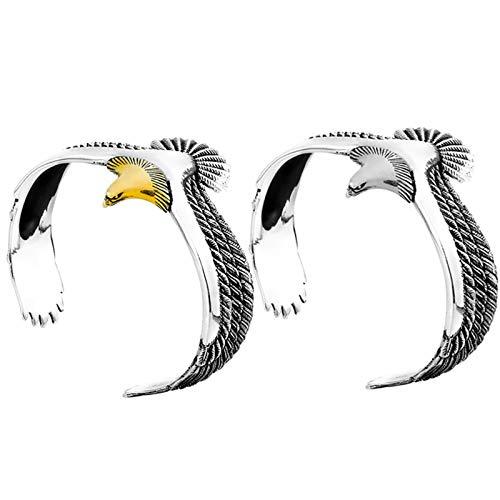 Yagerod Adler Manschette Armband, 1/2 Stück Vintage Rock Punk Armreif Manschette Armband Armband, Retro Kupfer offen verstellbar Adler Armreif für Männer Frauen Gold+Sliver