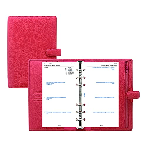 Filofax Finsbury Organizer, Personal Size, Coral – Traditional Grained Leather, Six Rings, Week-to-View Calendar Diary, Multilingual, 2022 (C025552-22)