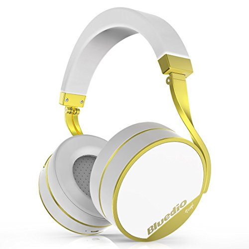 Bluedio Vinyl Plus Bluetooth Headphones Wireless HiFi Headphones with Luxury Elegant Classic Design, Microphone (White)