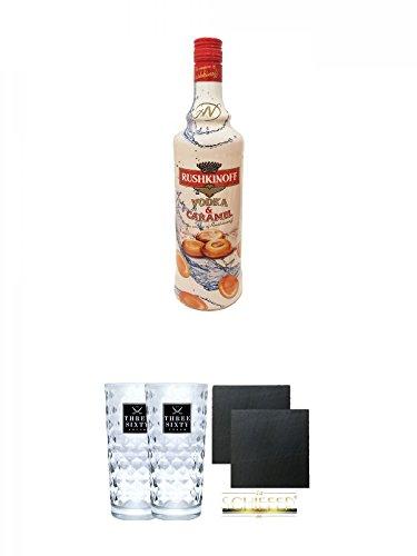 Rushkinoff Vodka & Caramel 1,0 Liter + Three Sixty Vodka Gläser 2 Stück + Schiefer Glasuntersetzer eckig ca. 9,5 cm Ø 2 Stück