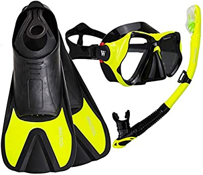 WACOOL Snorkeling Package Set for Adults, Anti-Fog Coated Glass Diving Mask, Snorkel with Silicon Mouth Piece,Purge Valve and Anti-Splash Guard w/Travel Short Swim Fins (Snorkel+Fins(Yellow), S)