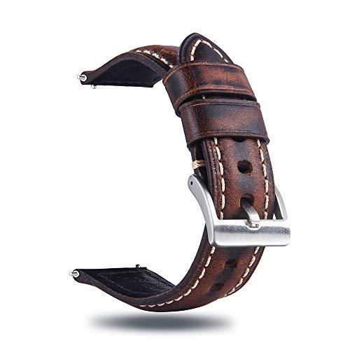 Berfine Quick Release Rindsleder Uhrenarmband 22mm, Vintage Retro Pull-Up Leder Uhrenband, Ersatzarmband für Damen Herren Uhr und Smartwatch, Dunkelbraun