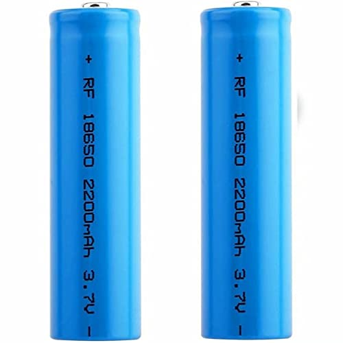 kally Batería 18650 Recargables Batería 3,7V 2200MAh ICR Li-Ion Alta Capacidad Batería 1200Ciclos Larga Duración Botón Superior Batería para Linterna, 65 x 18mm, Paquete de 2
