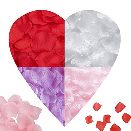 Jicyor Pétalos de Rosa, 4000 Pcs Colores Múltiples Seda Confeti Petalos Artificiales para Bodas Fiestas Día de San Valentín y Ambiente Romántico(Escarlata Rosa Claro Blanco Puro Morado Claro)