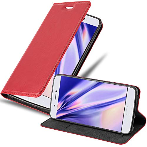Cadorabo Hülle für Xiaomi Mi 5S in Apfel ROT - Handyhülle mit Magnetverschluss, Standfunktion & Kartenfach - Hülle Cover Schutzhülle Etui Tasche Book Klapp Style