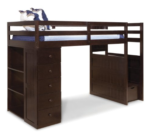 Hot Sale Canwood Mountaineer Loft Bed with Storage Tower and Built in Stairs Drawers, Twin, Espresso