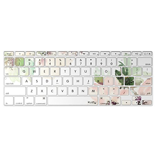 Kuzy - Keyboard Cover for Older MacBook Pro 13 15 17 (with or w/Out Retina Display) iMac and MacBook Air 13 Silicone Skin - Flowers Light