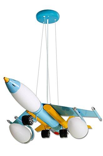 lampadario a sospensione bambini Vetrineinrete® Lampadario a sospensione a forma di aereo da caccia colorato con ruote 5 lampadine E14 max 60w per la cameretta dei bambini Z45
