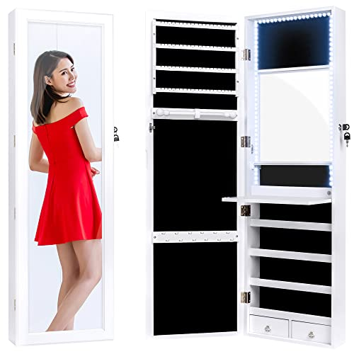 Best Choice Products Full Length Hanging Mirror Jewelry Armoire Cabinet, Makeup...