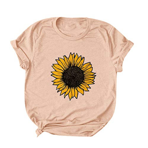 MRULIC Damen T-Shirt Kurzarm Rundhals BöHmen Drucken Blusen Tunika Oberteile LäSsige Lose Sommer Basic Tops Casual Pullover(Rosa,M)