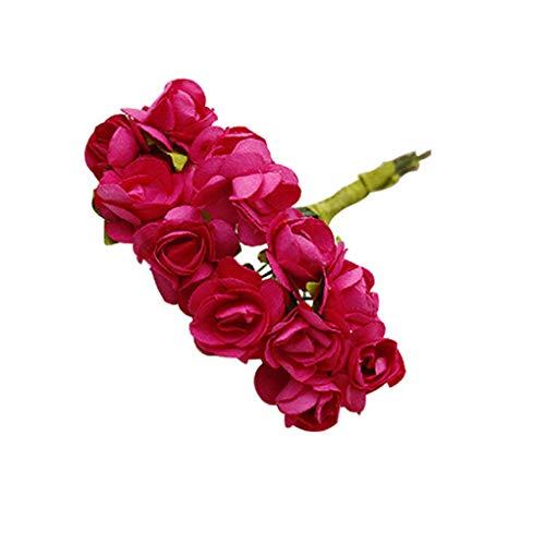 Mingtongli 144pcs Artificial Flower Heads Simulation Rose Garland Wreath Craft DIY Paper Flower Kit, Rose Red