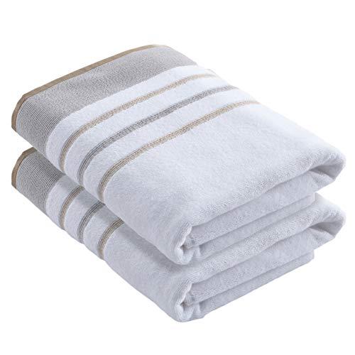 Great Bay Home - Juego de toallas de 100 % algodón turco, a rayas, suaves, ultra absorbentes. Colección Noelle.