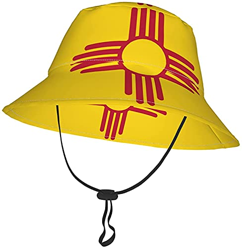 KEROTA Sombrero de cubo de la bandera de Nuevo México para bebés y niñas, sombrero de verano transpirable de playa 2-4T