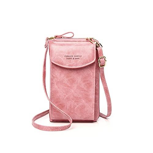 Crossbody Bags Cartera de teléfono celular para mujeres, correa de hombro con ranuras para tarjetas de crédito(rosa)