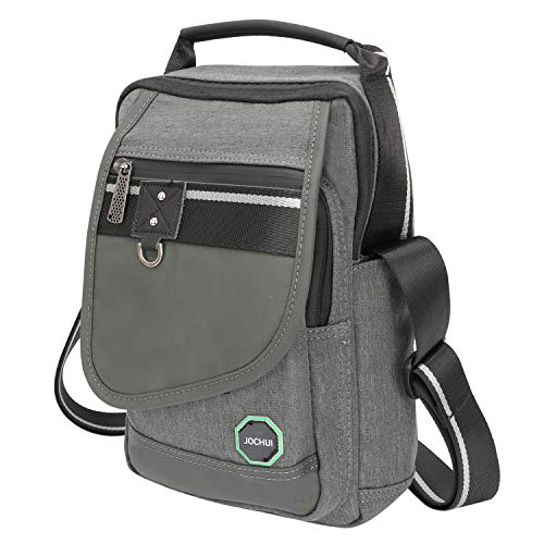 JOCHUI Messenger Bag, Crossbody Bags Vertical Purse Shoulder Bag Work Satchel Bag for Tablets iPad Kindle Gray