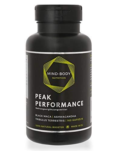 Natural T-Booster für Männer - Tribulus Terrestris + Maca Schwarz + Ashwagandha | 160 kapseln | Peak Performance von Mind-Body Nutrition