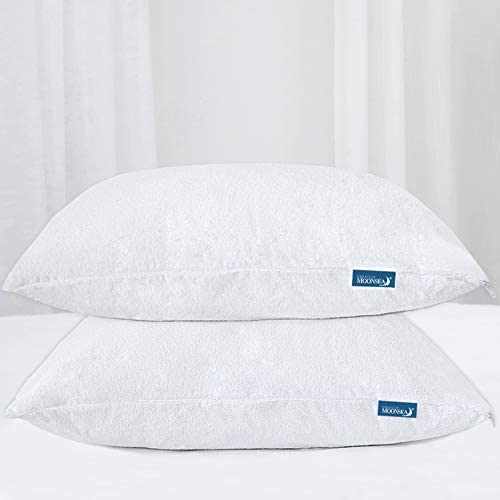 Moonsea Waterproof Zippered Pillow Protector 2 Pack Queen Size 20 x 30 Inch Pillow Protector product image