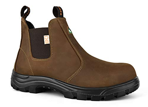 Tiger Men's Safety Boots Steel Toe CSA Lightweight Slip On Leather Work Boots 5925 (9 3E US Men, Light Brown)
