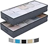 NEATERIZE Large Under Bed Storage Bags | 2-Pack Underbed Clothing Organizer | Ultra Thick Fabric, Reinforced Handles & Zipper | Stackable Organization and Storage Containers for Bedroom [Dark Grey]
