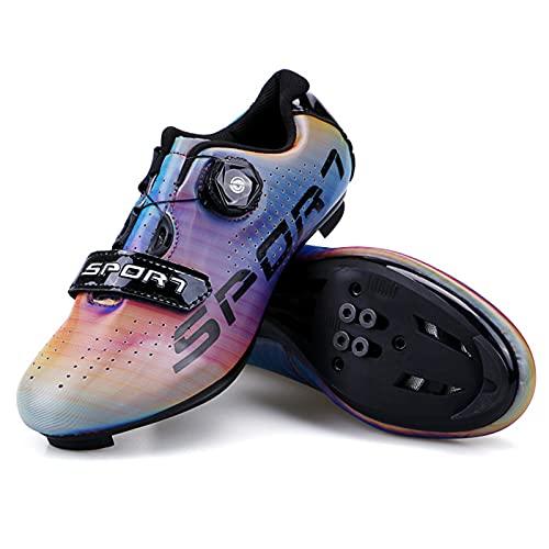 Zapatillas de Ciclismo Masculino Decoloración Zapatillas de Bicicleta de Carretera de Parejas Moda Antideslizantes Transpirables de Carretera con Hebilla de Giro Rápido y Caja de Zapatos 43