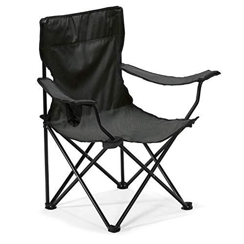 Silla Negra Camping Plegable con apoyabrazos y Bolsillo de redecilla Integrado para Bebida, Goma Ant