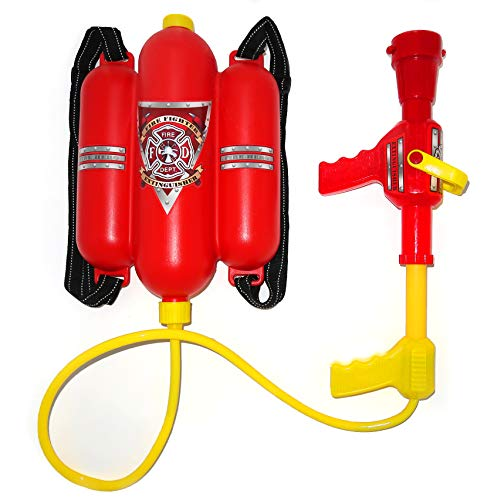 4E's Novelty Firefighter Backpack Water Gun Blaster - Double Tank with Hose, Large Super Water Squirt (Doesn't Leak) Suitable for Beach, Swimming Pool, Outdoor Activities for Kids, Pretend Play