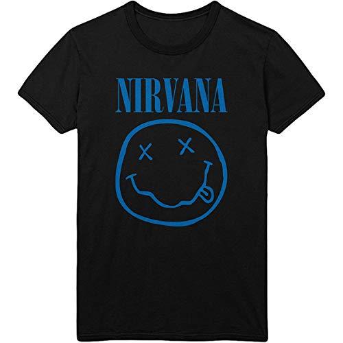T-Shirt # XXL Unisex Black # Blue Smiley [Import]