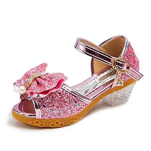 AISHANGYIDE Niñas Princesa Zapatos de Tacón Alto Princesa Elsa Cristal Bowknot Lentejuelas...
