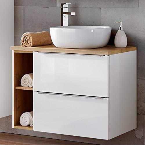 Lomadox Badezimmer Waschtisch Set mit 60cm Keramik-Aufsatzwaschbecken, Hochglanz weiß & Wotaneiche, Breite 80cm