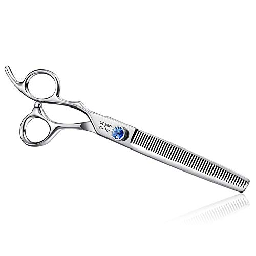 "JASON Left Handed 7"" 50 Teeth Blending Dog Grooming Scissor, Ergonomic Cats Grooming Thinning Shears Pets Trimming Kit with Offset Handle and a Jewelled Screw, Sharp, Comfortable, Durable Blender"