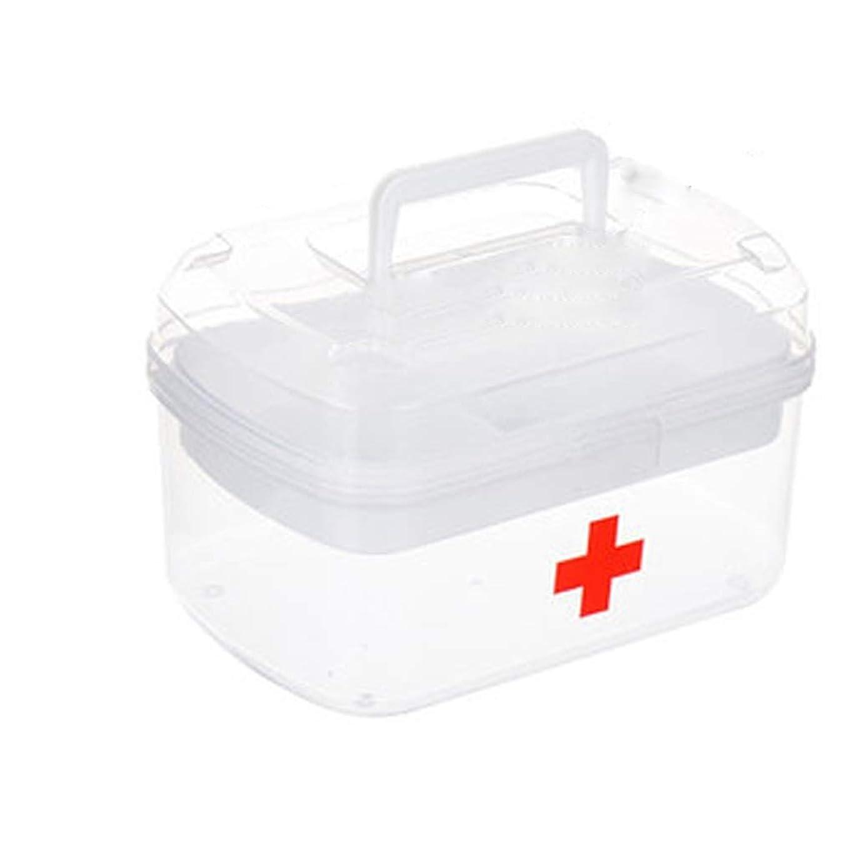 半ば動想定するYQCS●LS 医療容器救急箱透明薬収納ボックス二重収納ボックスは持ち運びに便利です、フロントボタンは開くのに便利です
