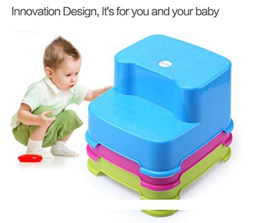 HANBUN 踏み台 子供 キッズ用 子供のスツール 厚い プラスチック スツール 踏み台 ステップ 2段 HM005 (BLUE)