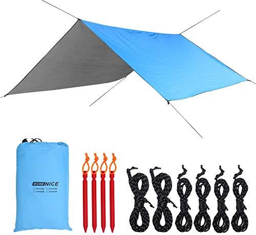 LXBB Lona para hamaca de camping, impermeable, resistente al viento, ligera, duradera, portátil, ligera, impermeable, resistente al viento, a prueba de nieve, refugio para nieve de 3 x 3 m