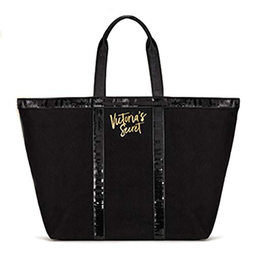 Victoria's Secret Sparkle Weekender Tote Bag Black Sequins 2017