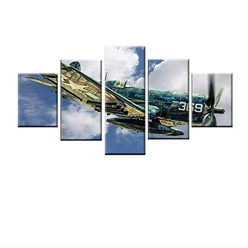 Decoratie thuis, woonkamer, 5 panelen, retro, vliegtuig, tekening modulair, HD, bedrukt, abstract, canvas, wand, kunst foto 30x40cmx2 30x60cmx2 30x80cmx1 Geen frame