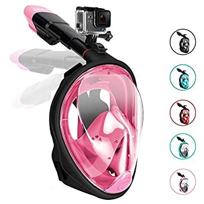 Gpeng Sunhoo Full Face Snorkel Mask, Foldable Snorkeling Mask with Detachable Camera Mount, 180¡ã Panoramic View Diving Mask Dry Top Set Anti-Fog Anti-Leak for Adults and Kid,Blackpink,S