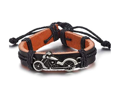 Armband leer motorfiets chopper sleutelhanger zilverkleurig/zwart metaal bromfiets | chopper | cadeau | Harley |