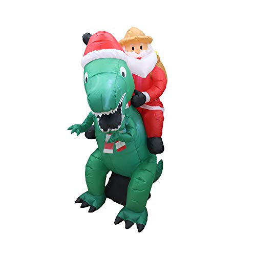 A Holiday Company Heavy Duty 6 Foot Tall Weather Resistant Self Inflatable Blow Up Santa on Dinosaur Christmas Holiday Lawn Decoration with LED Lights for Indoor Outdoor Decor
