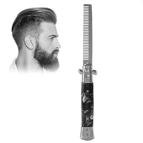 Switchblade Spring Folding Push Button Tasche Kamm, Faltbare automatische Edelstahl-Haarschneider Kämme, Männer Öl Hair Styling Zubehör(PEARL BLACK)