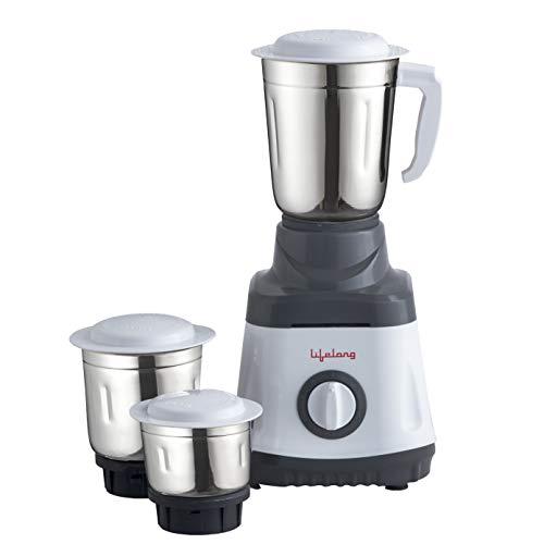 Lifelong LLMG74 750 Watt Mixer Grinder with 3 Jars (White and Grey)
