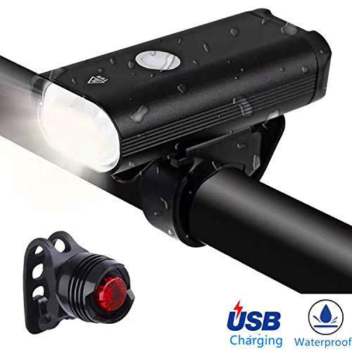 LZRYX Bike Light,USB Rechargeable Bike Light Set,8+ Hours Mountain Road Cycling Safety Commuter Flashlight with 3 Modes,High Waterproof Bike Light