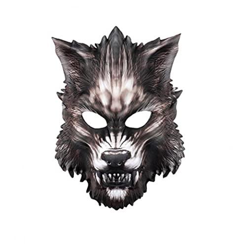 Schnuger Eva Wolf Máscara Halloween Halloween Hombre Lobo Medio Máscara De Miedo Horror Diablo Wolf Animal Máscara para La Masquerade Disfraz De Halloween Cosplay Fiesta